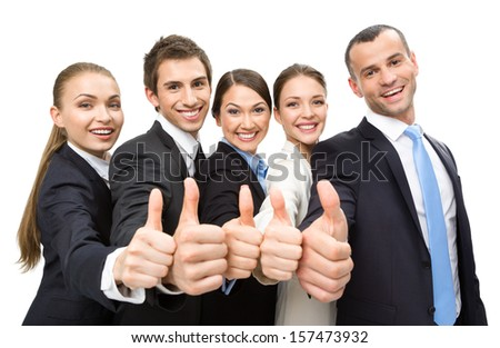Group of thumbing up business people, isolated on white. Concept of teamwork and cooperation - stock photo