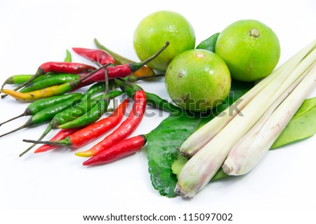 group of Tomyum(Thai food) seasoning ingredients