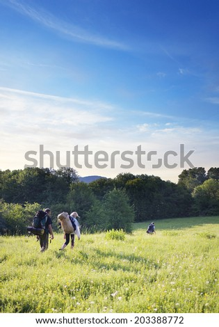 group of tourists walking on a footpath across the field - stock photo