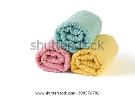 group of towels isolated on white background - stock photo