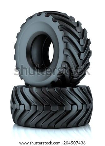 Group of tractor tires isolated on white background - stock photo