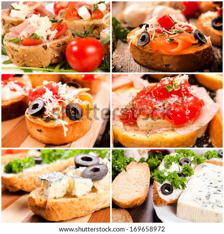 Group of traditional Italian bruschettas on the table - stock photo