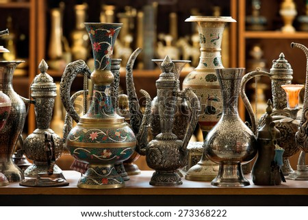 Group of traditional turkish tea pot at Grand Bazaar, Istanbul. - stock photo