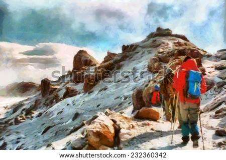 Group of trekkers hiking among snows of Kilimanjaro mountain - stock photo
