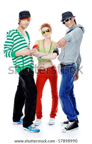 Group of trendy teenagers dancing together. Isolated over white background. - stock photo