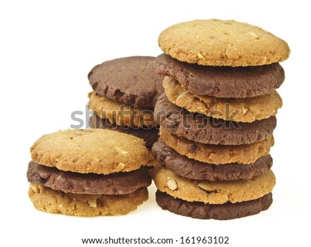 group of two color mix cookie pile in on white background
