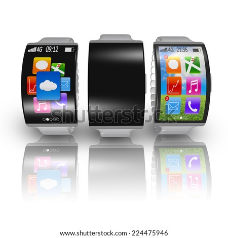 group of ultra-thin curved screen smartwatch with metal watchband isolated on white