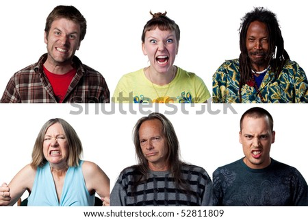 Group of unhappy, angry people screaming at the camera - stock photo
