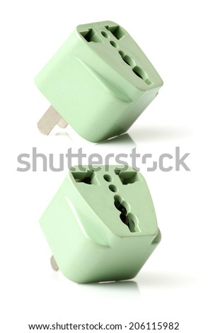 group of universal adapter isolated on white background - stock photo