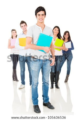 Group of university students smiling - isolated over a white background - stock photo