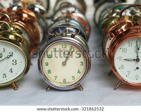 Group of various old alarm clocks made in Czechoslovakia.