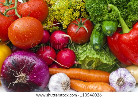 Group of vegetables closeup view - stock photo