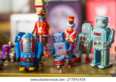 Group of vintage robots - stock photo