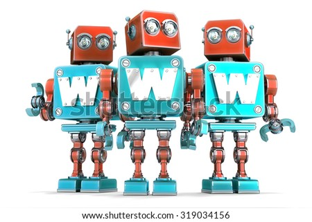 Group of vintage robots with WWW sign. Technology concept. Isolated over white. Contains clipping path - stock photo