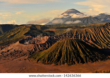 Group of Volcanic Mountain Landscape - stock photo