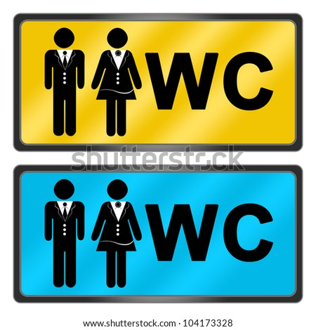 Group Of WC Toilet Sign In Yellow And Blue For Lady Gentleman Isolated On White
