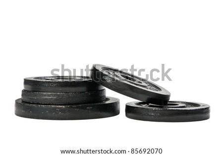 Group of weights, isolated on white background. - stock photo
