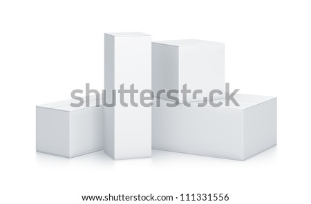 Group of White Boxes. High resolution 3D illustration with clipping paths. - stock photo