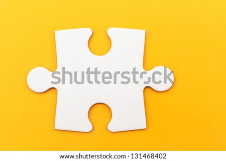 Group of white paper jigsaw puzzles - stock photo