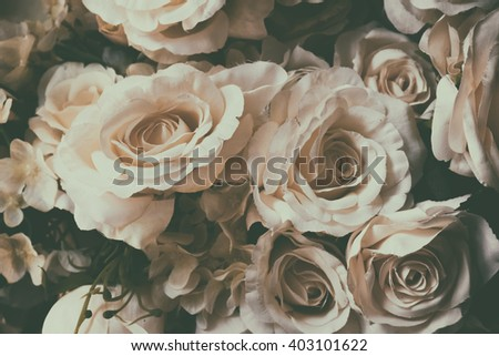 Group of white rose flowers with vintage effect background