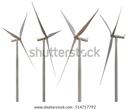 Group of wind turbine isolated on white background