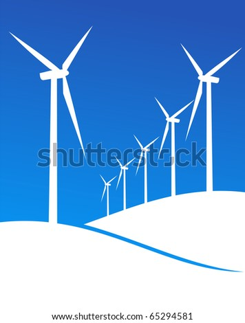 Group of Windmills white silhouettes on blue background. - stock photo