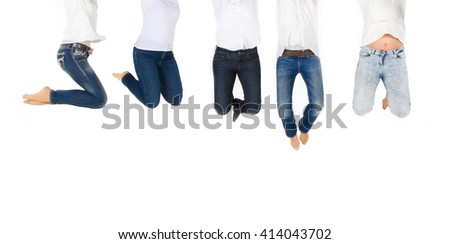 Group of woman jumping high in the air - stock photo
