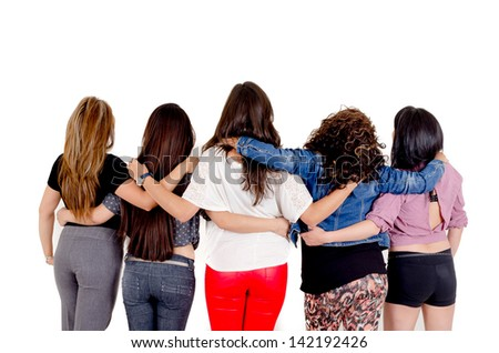 Group of women walking over a white background - stock photo