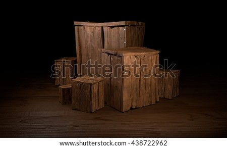 Group of wooden boxes 3d illustration - stock photo