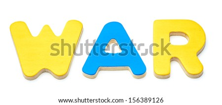 group of wooden letters form the word war