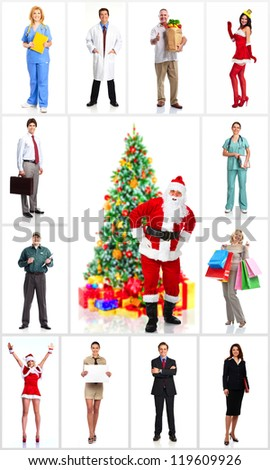 Group of workers people and Christmas santa. Isolated over white background. - stock photo