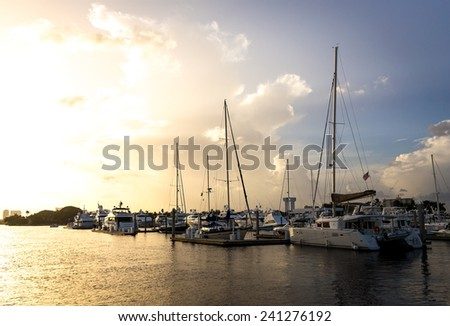 Group of yachts berthed in the harbor in Fort Lauderdale, Florida - stock photo
