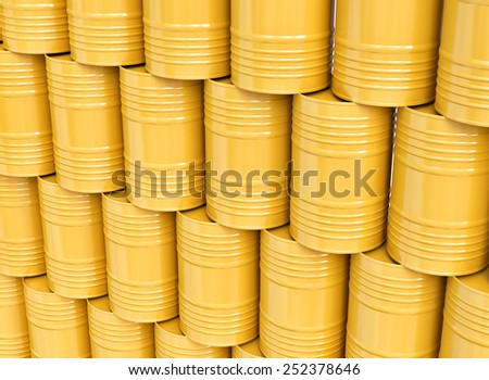 Group of yellow oil barrels, 3d illustration - stock photo