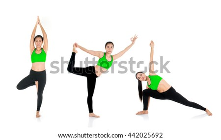 Group of Yoga woman - pretty asian female in active wear doing yoga on white background