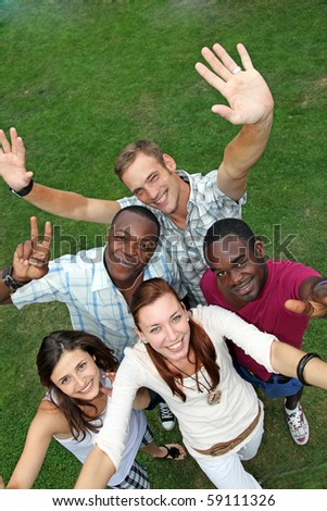 Group of young and happy people from different nations are happy - stock photo