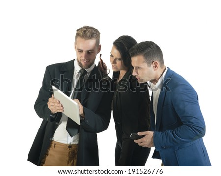 group of young attractive executives working with digital tablet - stock photo