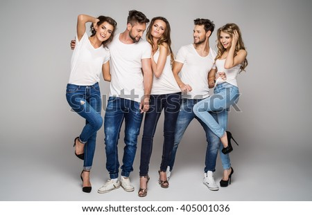 Group of young beautiful people smiling and having fun together - stock photo