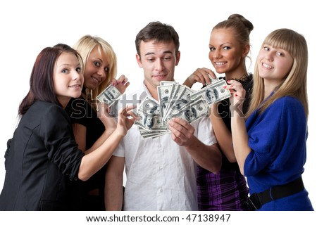 Group of young beautiful women take money from the man on a white background.