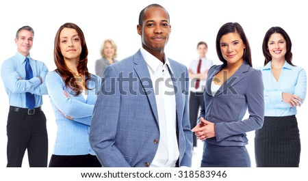 Group of young business people isolated on white background. - stock photo