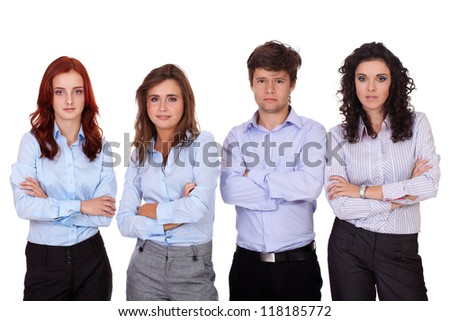 Group of young business people standing with folded hands, isolated on white - stock photo
