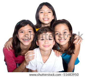 Group of young children from different background in studio - stock photo