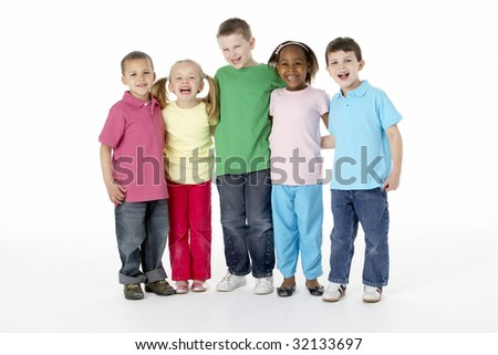Group Of Young Children In Studio - stock photo