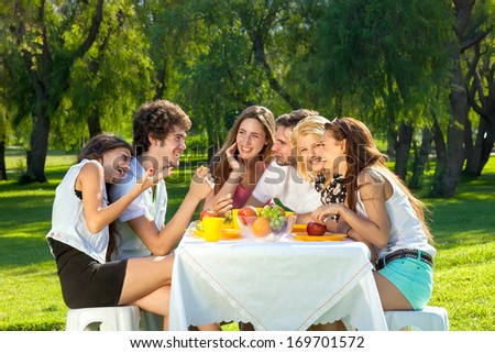 Group of young college friends sitting around a table picnicking in a park smiling and chatting together as they spend a relaxing summer day. - stock photo