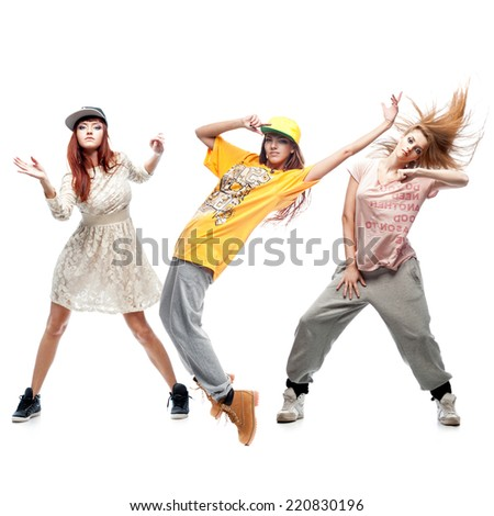 group of young female hip hop dancers isolated on white background - stock photo
