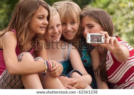 Group of young girls are having fun - stock photo