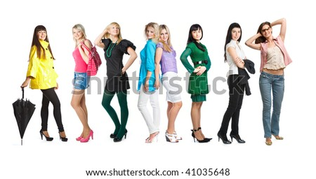 Group of young girls. Isolated on white background - stock photo