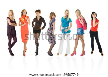 Group of young girls. Isolated on white backgrounds - stock photo