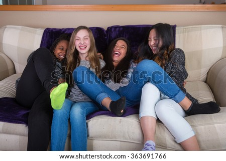 Group of young girls playing and having fun - stock photo