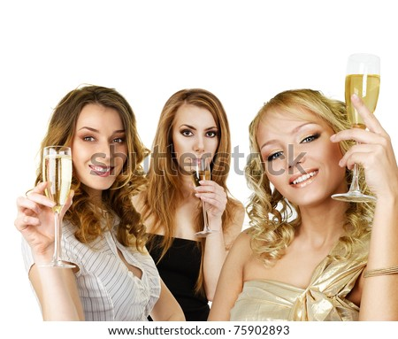 Group of young girls with champagne holding in hand isolated over white background - stock photo