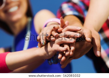 Group of young happy people. Unity concept - stock photo